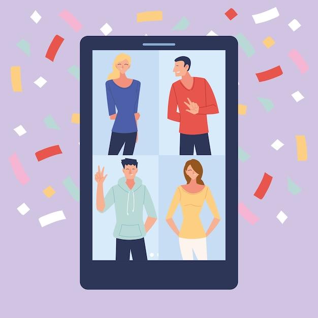 Virtuelle party mit männern frauen cartoons in smartphone und konfetti design, alles gute zum geburtstag und video-chat Premium Vektoren
