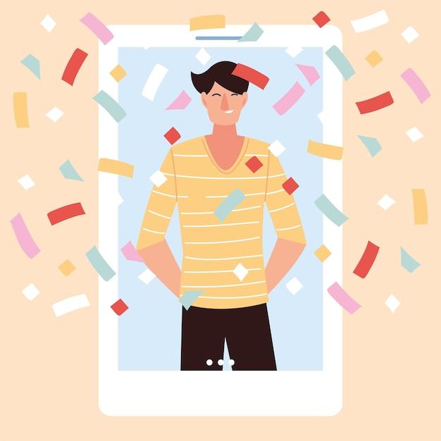 Virtuelle party mit mann cartoon und konfetti im smartphone-design, alles gute zum geburtstag und video-chat Premium Vektoren