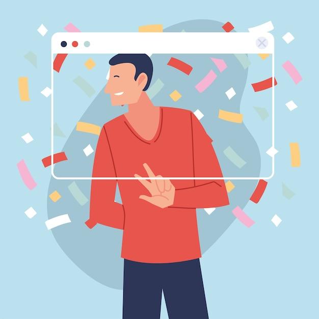 Virtuelle party mit mannkarikatur und konfetti im bildschirmdesign, alles gute zum geburtstag und video-chat Premium Vektoren