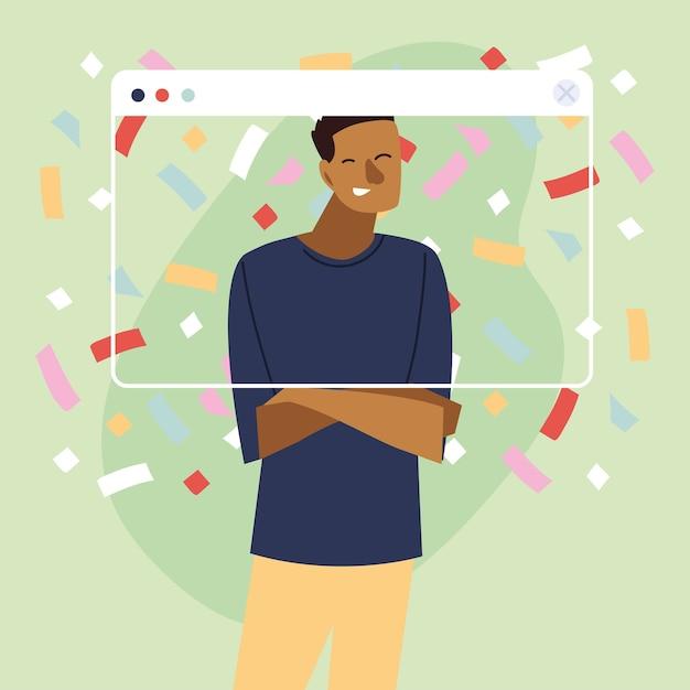 Virtuelle party mit schwarzem mann-cartoon und konfetti im bildschirmdesign, alles gute zum geburtstag und video-chat Premium Vektoren
