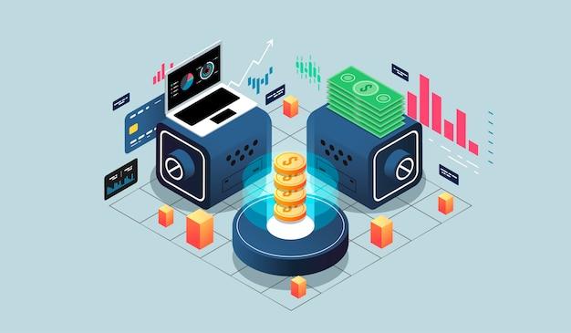 Virtuelle realität des isometrischen konzeptes des entwurfes und vergrößerte realität. softwareentwicklung und programmierung Premium Vektoren