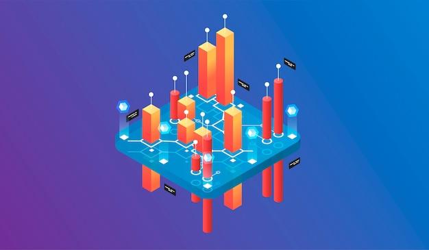 Virtuelle realität des isometrischen konzeptes des entwurfes und vergrößerte realität Premium Vektoren