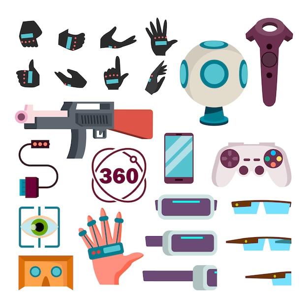 Virtuelle realität icons Premium Vektoren