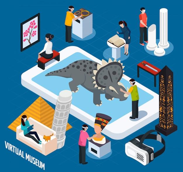 Virtuelle reise sehenswürdigkeiten museum Kostenlosen Vektoren