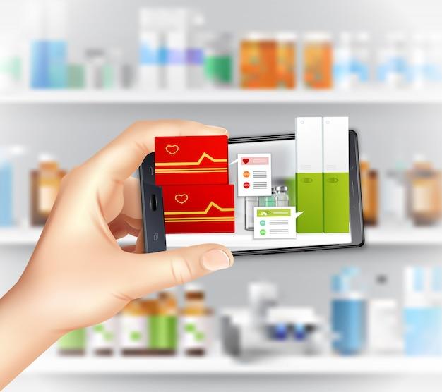 Virtuelle und augmented-reality-apps in der medizin realistische zusammensetzung mit haltender smartphone-hand, die medikamente auswählt Kostenlosen Vektoren