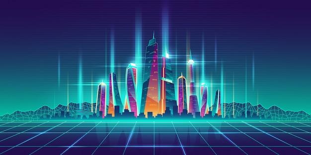 Virtuelle vorbildliche karikatur der zukünftigen metropole Kostenlosen Vektoren