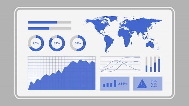 Virtueller bildschirm mit dashboard für datenanalyse-statistikdiagramme Premium Vektoren