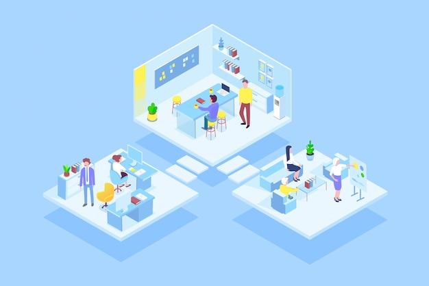 Virtuelles coworking office mit zusammenarbeitenden geschäftsleuten. illustration des isometrischen konzepts für unternehmensführung, online-kommunikation und finanzen. Premium Vektoren