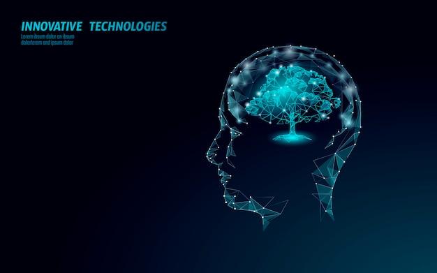 Virtuelles digitales biotechnologie-baum-engineering-konzept. machen. nature mind lösung. kreative idee medizin. öko-polygonbiologie zukunftsforschung Premium Vektoren