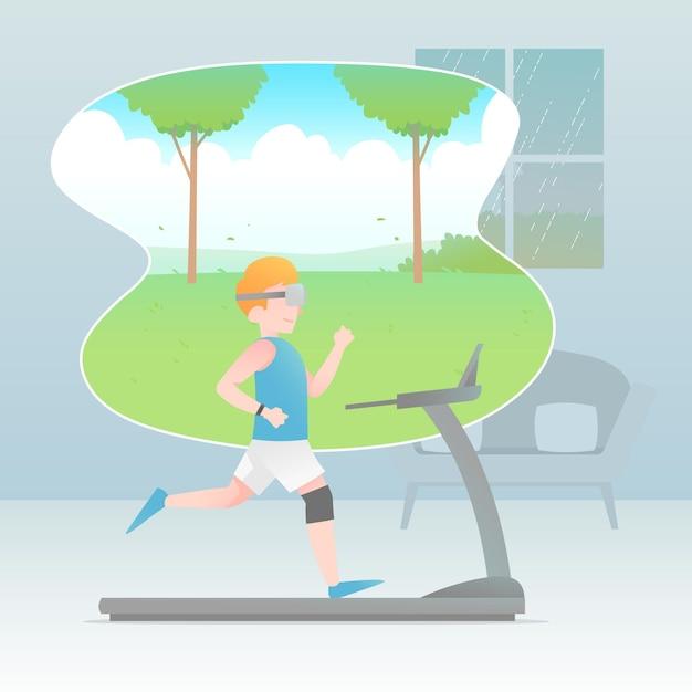 Virtuelles fitnessraumkonzept Kostenlosen Vektoren