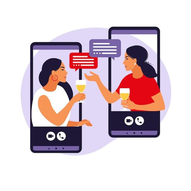 Virtuelles freundschaftskonzept. frauen in virtueller party. Premium Vektoren