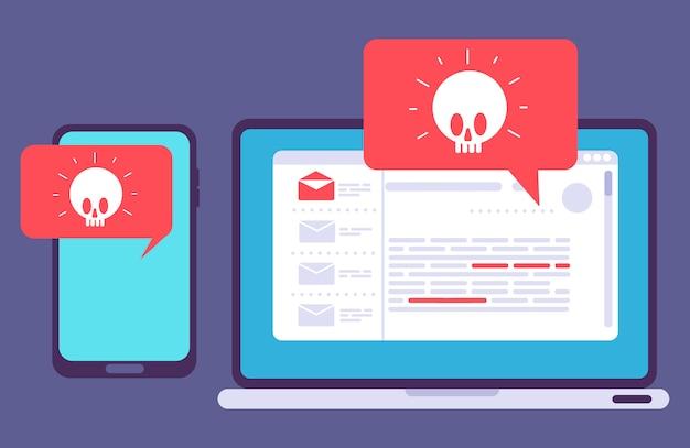 Virus auf laptop und telefon Premium Vektoren