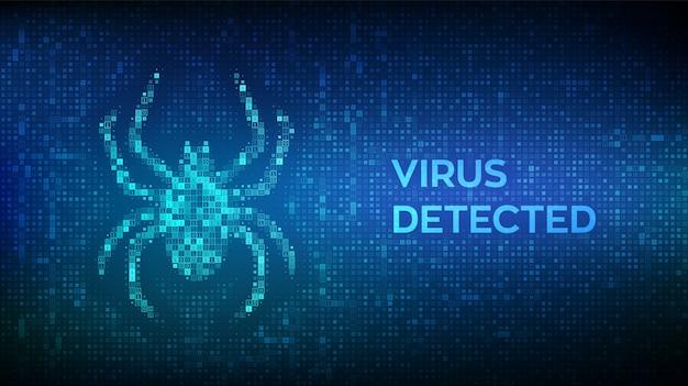 Virus hazard sign. virus erkannt. computerfehler mit binärcode gemacht. gehackt. Premium Vektoren