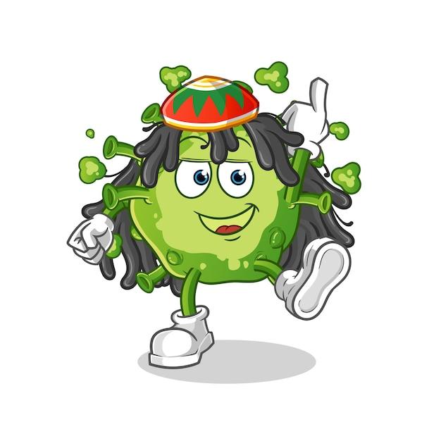 Virus reggae boy cartoon Premium Vektoren