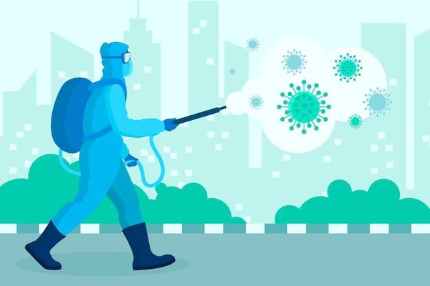 Virusdesinfektion mit mann im blauen hazmat-anzug Kostenlosen Vektoren