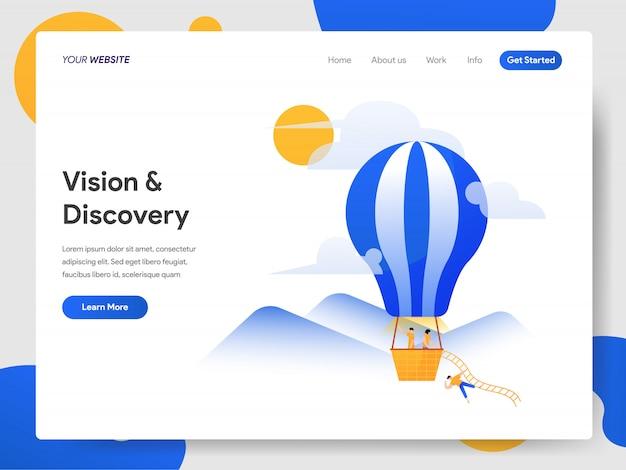 Vision und entdeckung mit heißluftballon Premium Vektoren