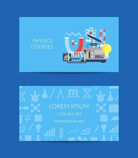 Visitenkarte für wissenschaftslabor oder kurse Premium Vektoren