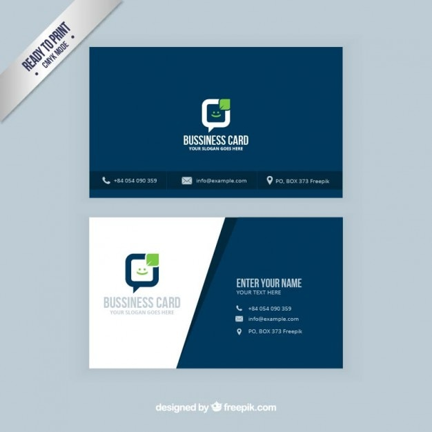 Visitenkarte in marineblau Farbe Premium Vektoren
