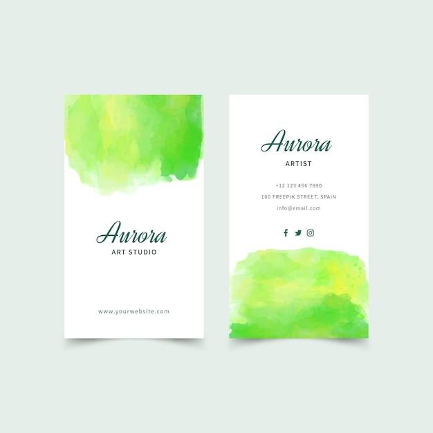 Visitenkarte mit aquarellfarbe Kostenlosen Vektoren