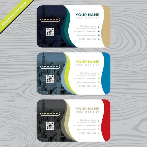 Visitenkarte mit mehrfarbigen Wellen Kostenlose Vektoren