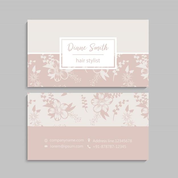 Visitenkarte mit schönen blumen. vorlage Premium Vektoren