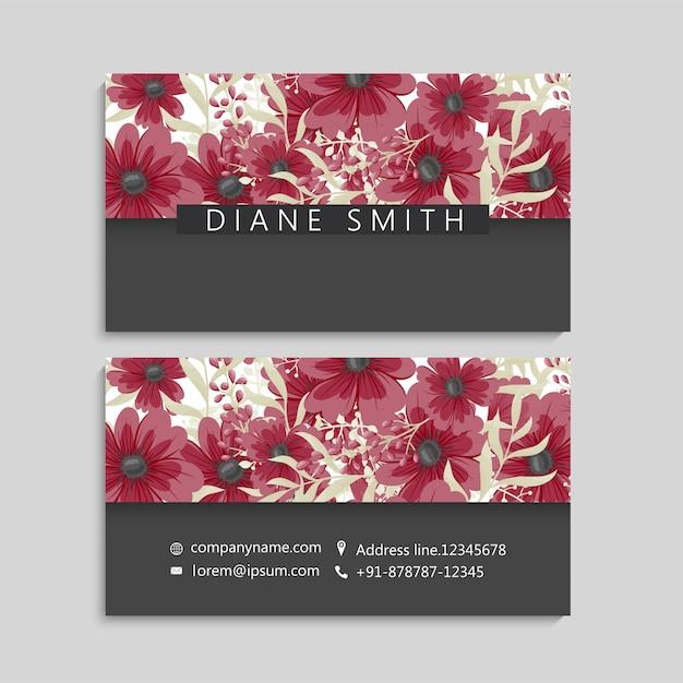 Visitenkarte Mit Schönen Blumen Vorlage Kostenlose Vektor
