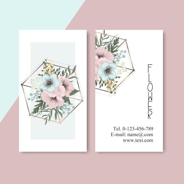 Visitenkarte mit schönen Blumen Kostenlose Vektoren