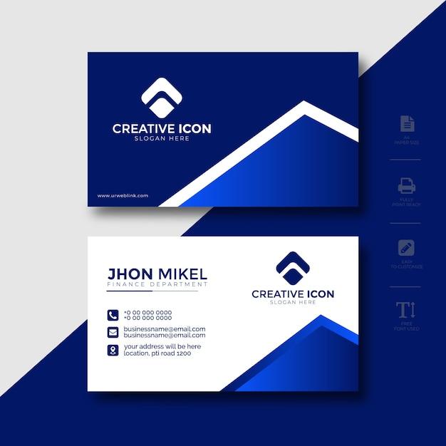 Visitenkarte-schablonen-blaues abstraktes design Premium Vektoren
