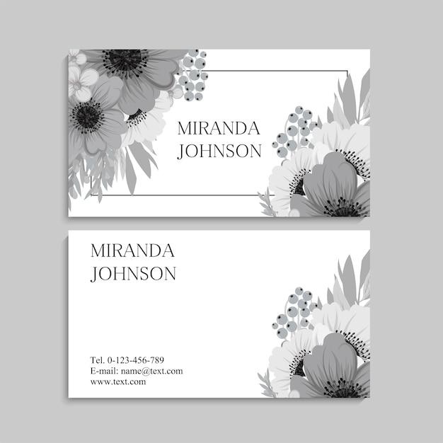 Visitenkarte und visitenkarte mit blumen Premium Vektoren