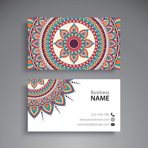 Visitenkarte vintage dekorative elemente ornamental floral visitenkarten orientalischen muster vektor-illustration Premium Vektoren