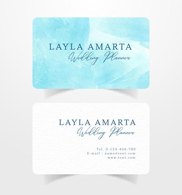 Visitenkarte visitenkarte mit blauem spritzenaquarell Premium Vektoren