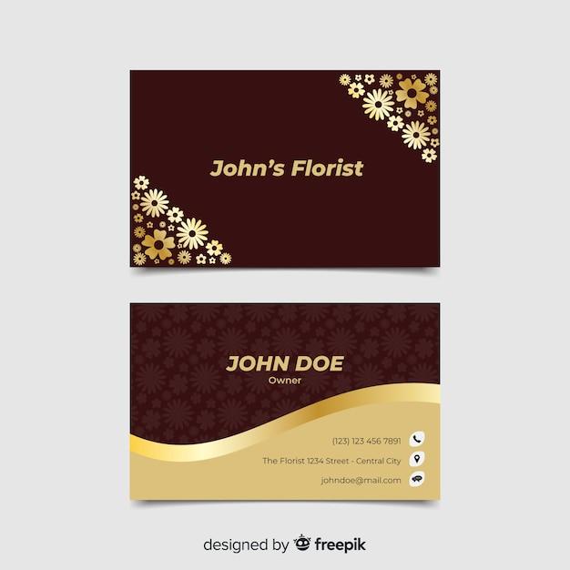 Visitenkarte vorlage golden floral Kostenlosen Vektoren