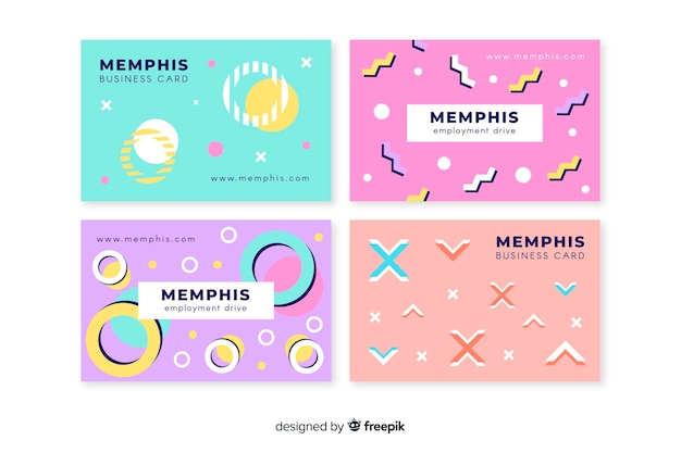 Visitenkarte vorlage memphis-stil Kostenlosen Vektoren