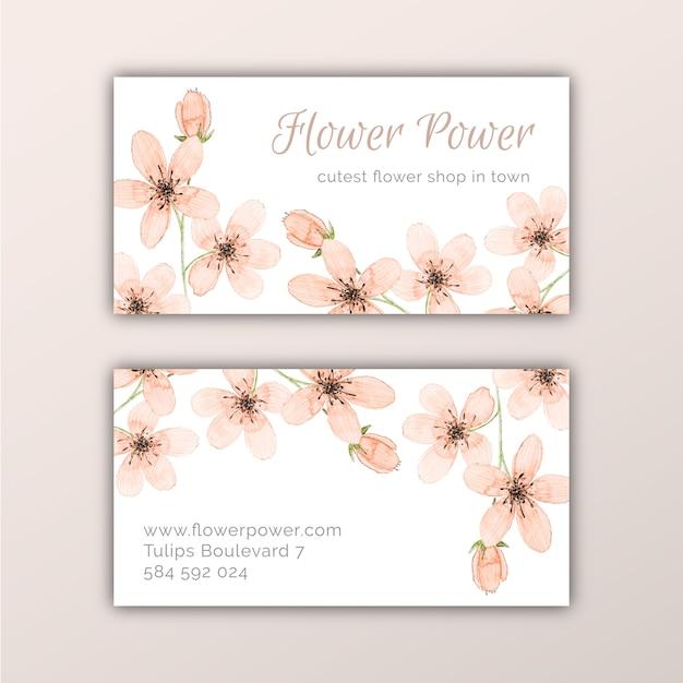 Visitenkarten Design Mit Pfirsich Aquarell Blumen Premium