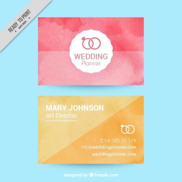 Visitenkarten In Aquarell Effekt Für Die Hochzeit