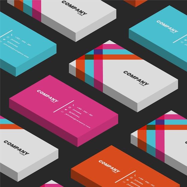 Visitenkarten mit isometrischen neonfarben Kostenlosen Vektoren