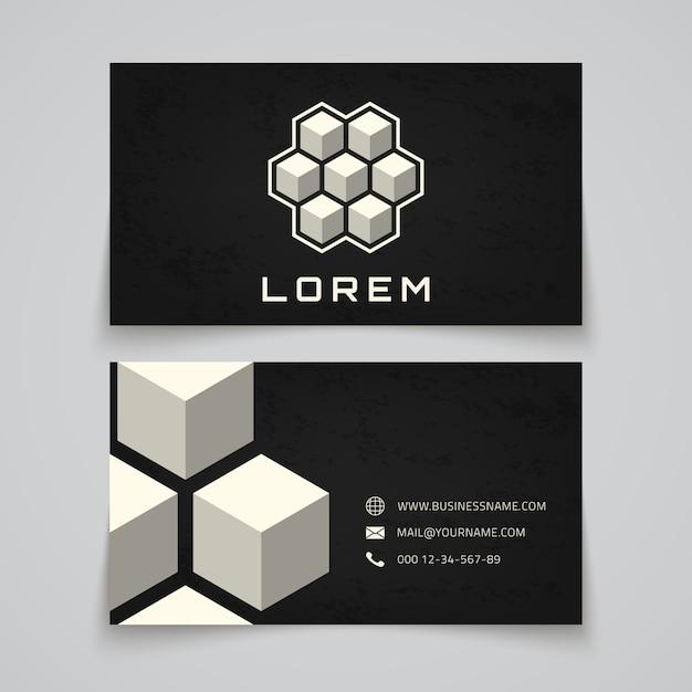 Visitenkartenvorlage. abstrakte würfel. konzept-logo Premium Vektoren