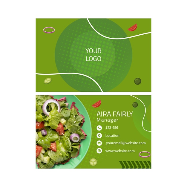 Visitenkartenvorlage für gesunde lebensmittel Premium Vektoren