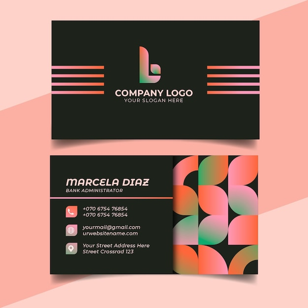 Visitenkartenvorlage mit farbverlauf Kostenlosen Vektoren