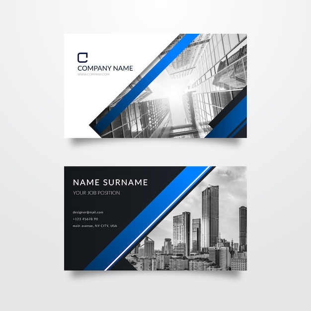 Visitenkartenvorlage mit foto Kostenlosen Vektoren