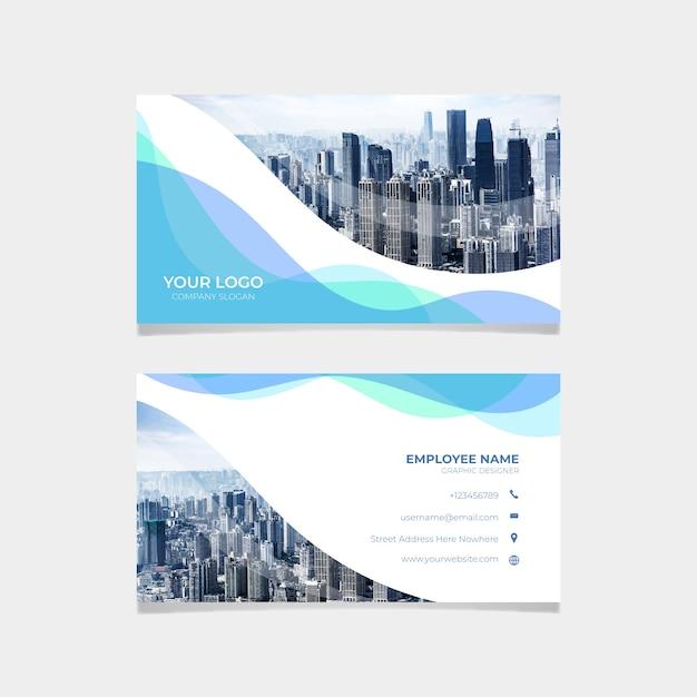 Visitenkartenvorlage mit skyline Kostenlosen Vektoren