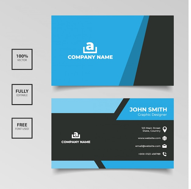 Visitenkarteschablone des übersichtlichen designs Premium Vektoren
