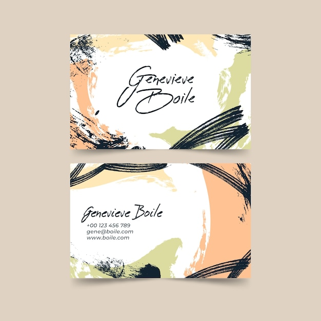 Visitenkarteschablone mit abstrakten pastellfarbenen flecken Kostenlosen Vektoren