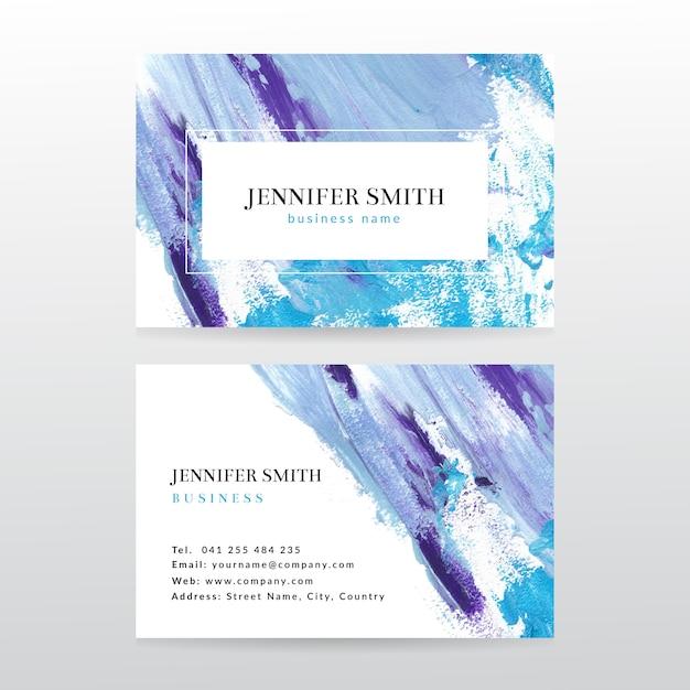 Visitenkarteschablone mit aquarellfarbenzusammenfassungshintergrund Premium Vektoren
