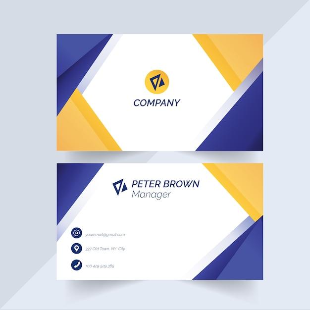 Visitenkarteschablone mit den blauen und gelben formen Kostenlosen Vektoren