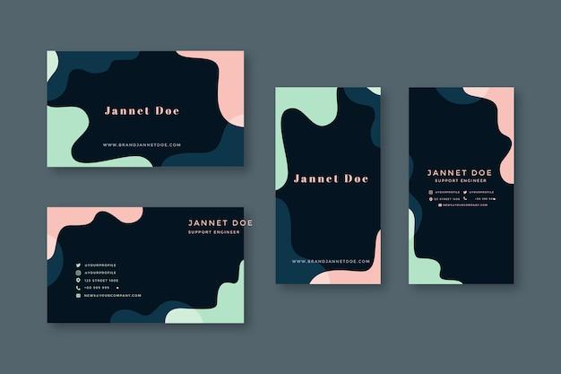 Visitenkarteschablone mit pastelldesignen Kostenlosen Vektoren