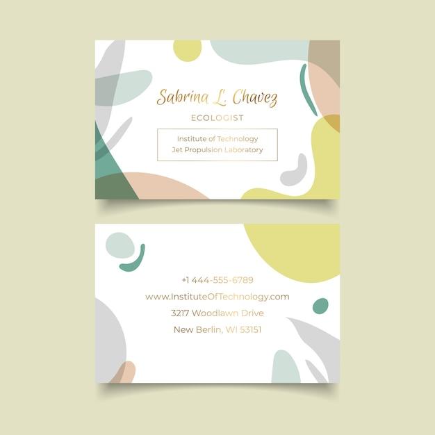 Visitenkarteschablone mit pastellformen Kostenlosen Vektoren
