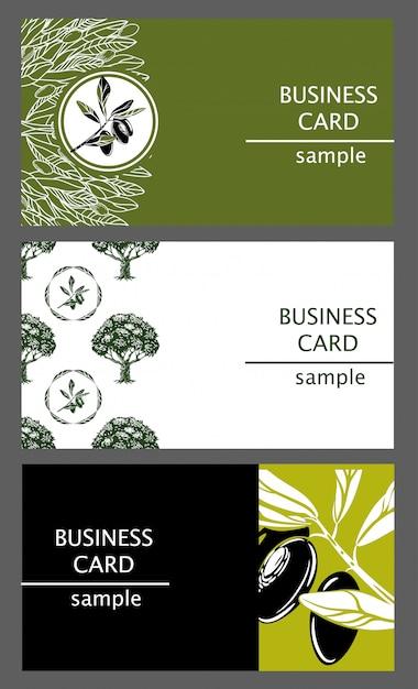 Visitenkarteschablonen mit dem bild der ölzweige und der bäume. Premium Vektoren