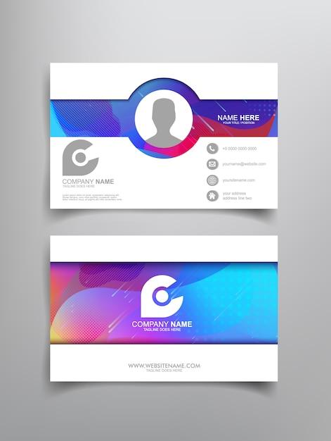 Visitenkarteschablonendesign mit abstrakter gestaltung Premium Vektoren