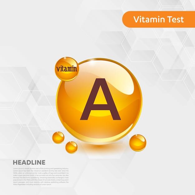 Vitamin a-ikonensammlung goldenes tropfenlebensmittel der vektorillustration Premium Vektoren